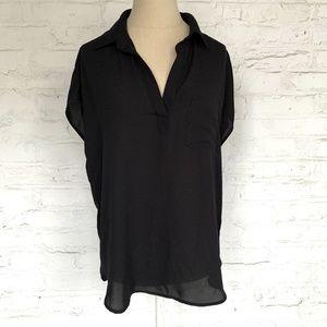 Short sleeve blouse v neck collared black sheer M